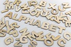 Słowa abecadło w drewnianych listach Obraz Stock