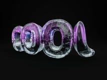Słowa CHŁODNO robić od lodów listów na czarnym tle 3D renderin Obraz Stock