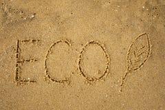 Słowa ECO frawn na piaskowatej kolor żółty plaży Zdjęcie Royalty Free