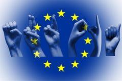 Słowa europa nad europejską zrzeszeniową flaga Fotografia Stock