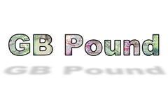 Słowa GB Funtowi banknoty z cieniem na biel obraz stock