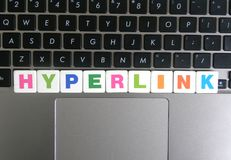 Słowa Hyperlink na klawiaturowym tle obrazy royalty free
