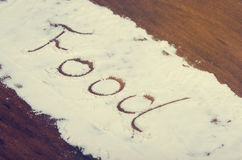 Słowa jedzenie pisać w stevia proszku na drewnianym tle Zdjęcie Royalty Free