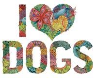 Słowa KOCHAM psy Wektorowy dekoracyjny zentangle przedmiot royalty ilustracja