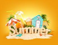 Słowa lato robić piasek na tropikalnej wyspie Niezwykła 3d ilustracja wakacje royalty ilustracja