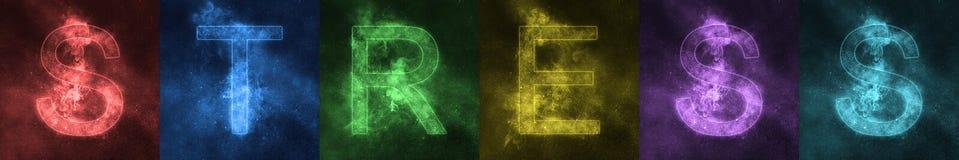 Słowa literowania stresu przestrzeni stylizowani kolorowi listy stres ilustracji