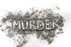 Słowa morderstwo pisać w popióle Fotografia Royalty Free