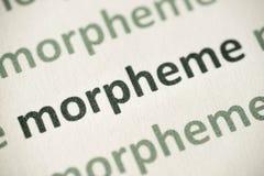 Słowa morpheme drukujący na papierowy makro- Obrazy Royalty Free