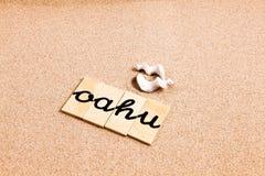 Słowa na piasku Oahu fotografia royalty free