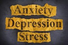 Słowa niepokój, depresja i stres, fotografia stock