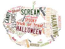 Słowa Obłoczny rozdawać z Halloween obraz stock