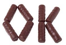 Słowa ok od czekoladowych barów zdjęcie royalty free