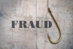 Słowa oszustwo i haczyk obrazy royalty free