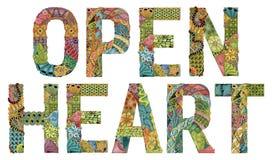 Słowa OTWIERAJĄ serce Wektorowy dekoracyjny zentangle przedmiot ilustracji