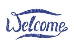 Słowa powitanie dla twój projekta Wektorowy sztandar z błękitnym tekstem Zdjęcia Royalty Free