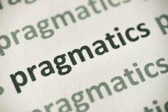 Słowa pragmatics drukujący na papierowy makro- Obraz Royalty Free