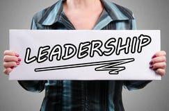 Słowa przywódctwo na białym znaku Zdjęcie Stock