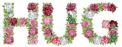 Słowa uściśnięcie akwarela kwiaty ilustracja wektor