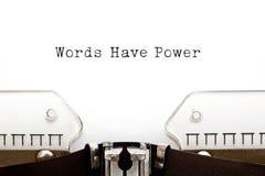 Słowa władzy maszyna do pisania Zdjęcia Royalty Free