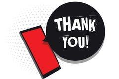 Słowa writing tekst Dziękuje Ciebie Biznesowy pojęcie dla replaying na coś dobrym lub powitania z zadowolonym sposobu telefonem k ilustracja wektor