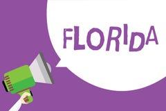 Słowa writing tekst Floryda Biznesowy pojęcie dla stanu w southeastern regionie Stany Zjednoczone miejsca plaż Pogodny mężczyzna ilustracja wektor