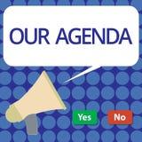 Słowa writing tekst Nasz agenda Biznesowy pojęcie dla Osobisty rozkładów przypomnień metody procesu rozkładu zajęć organizować royalty ilustracja