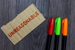 Słowa writing tekst Nieracjonalny Biznesowy pojęcie Poza dla ograniczeń dopuszczalność lub sprawiedliwość Nieodpowiedni zdjęcie stock
