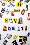 Słowa writing tekst pokazuje pojęcie Save pieniądze robić różny magazyn gazety list dla Biznesowej skrzynki na białym backg zdjęcie royalty free