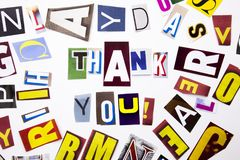Słowa writing tekst pokazuje pojęciu Dziękować Ciebie, Dziękować robić różny magazyn gazety list na wh dla Biznesowej skrzynki fotografia stock