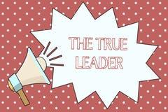Słowa writing tekst Prawdziwy lider Biznesowy pojęcie dla jeden który rusza się grupy ludzi odpowiedzialność i zachęca ilustracja wektor