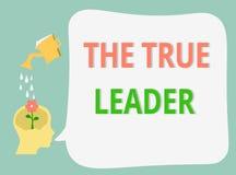 Słowa writing tekst Prawdziwy lider Biznesowy pojęcie dla jeden który rusza się grupy ludzi odpowiedzialność i zachęca royalty ilustracja