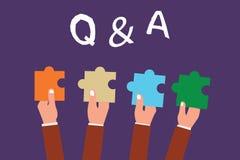 Słowa writing tekst Q i A Biznesowy pojęcie dla wymiany pytanie i odpowiedź między grupami pokazywać royalty ilustracja