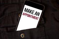 Słowa writing tekst Robi spotkaniu Biznesowy pojęcie dla rozkładu przygotowania ostatecznego terminu telefonu komórkowego czerni  Fotografia Royalty Free