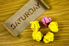 Słowa writing tekst Sobota Biznesowy pojęcie dla Pierwszy dnia weekendowy Relaksujący czasu wakacje czasu wolnego moment Pojęcie  Fotografia Stock