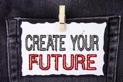 Słowa writing tekst Tworzy Twój przyszłość Biznesowy pojęcie dla kariera celów celów ulepszenia setu planuje uczenie pisać na Bia Zdjęcie Stock