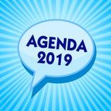Słowa writing teksta agenda 2019 Biznesowy pojęcie dla listy aktywność w rozkazie który brać w górę Błękitnego mowa bąbla m są ilustracja wektor