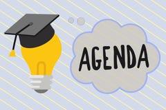 Słowa writing teksta agenda Biznesowy pojęcie dla robić liście rzeczy dyskutował przy formalnym znacząco spotkaniem royalty ilustracja