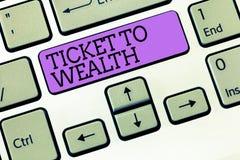 Słowa writing teksta bilet bogactwo Biznesowy pojęcie dla koła pomyślności przejście Pomyślna i jaskrawa przyszłość obrazy royalty free