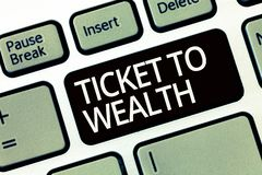 Słowa writing teksta bilet bogactwo Biznesowy pojęcie dla koła pomyślności przejście Pomyślna i jaskrawa przyszłość fotografia royalty free
