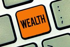 Słowa writing teksta bogactwo Biznesowy pojęcie dla obfitości wartościowi posiadania lub pieniądze być bardzo bogatym luksusem fotografia royalty free