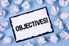 Słowa writing teksta celów Motywacyjny wezwanie Biznesowy pojęcie dla celów planujących dokonującymi Pragnął cele pisać na bielu Obrazy Royalty Free