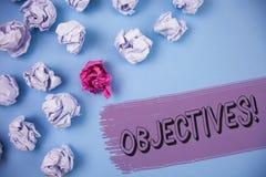 Słowa writing teksta celów Motywacyjny wezwanie Biznesowy pojęcie dla celów planujących dokonującymi Pragnął cele pisać na P Zdjęcie Stock