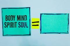 Słowa writing teksta ciała umysłu ducha dusza Biznesowy pojęcie dla ogłoszenie towarzyskie równowagi terapii świadomości stan umy zdjęcia royalty free
