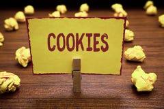 Słowa writing teksta ciastka Biznesowy pojęcie dla Słodkiej biskwitowej Deserowej Wyśmienicie karmowej przekąski Małego nastroszo zdjęcia royalty free