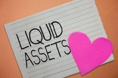 Słowa writing teksta Ciekłe wartości Biznesowy pojęcie dla gotówki i bank równowag Targowa płynność Odraczającego zapasu obraz stock