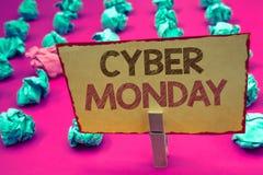 Słowa writing teksta Cyber Poniedziałek Biznesowy pojęcie dla Specjalnych sprzedaży po Black Friday zakupy Online handlu elektron obraz stock