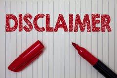 Słowa writing teksta dementi Biznesowy pojęcie dla warunki oświadczenia zaprzeczenie roszczenia prawnego Copyright notatnika pape zdjęcie stock