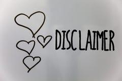 Słowa writing teksta dementi Biznesowy pojęcie dla warunki oświadczenia zaprzeczenie roszczenia prawnego Copyright serca biali zdjęcie stock
