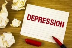 Słowa writing teksta depresja Biznesowy pojęcie dla praca stresu z bezsennymi nocami ma niepokoju nieład pisać na łzie Notep fotografia stock