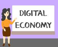 Słowa writing teksta Digital gospodarka Biznesowy pojęcie dla sieci działalność gospodarcza i technologie na całym świecie ilustracji